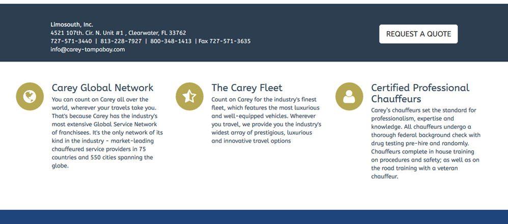 Carey Limousine of Tampa Bay FLorida